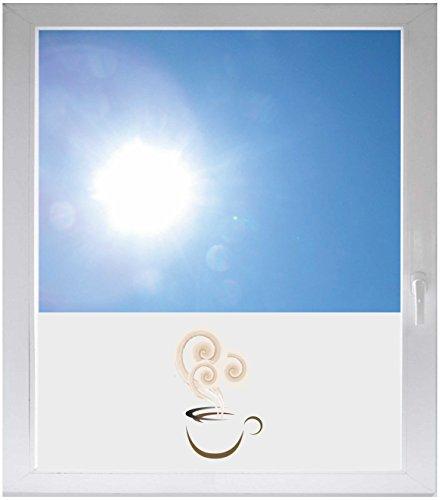 INDIGOS UG Sichtschutzfolie Sonnenschutz Glasdekorfolie Fensterfolie mit Motiv satiniert Blickdicht - GME167 - schöne Tasse Kaffee - 800x500mm