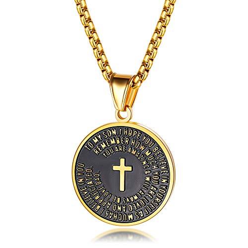J.May Halskette Herren Gold Edelstahl Kreuz mit Rundem Plättchen Anhänger Gravur Charm 55cm Kette für Männer (Gold)