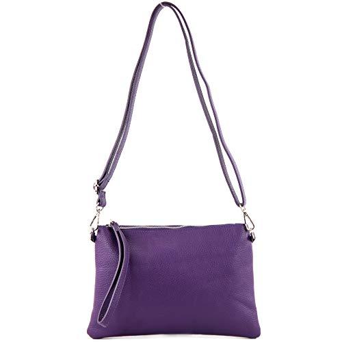 modamoda de - T186 - ital. Clutch Umhängetasche Leder Medium, Farbe:Purple