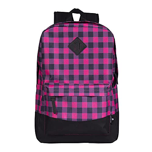 Volkano 18-Inch Laptop Backpack with Laptop Sleeve 15.6-Inch, Adjustable Shoulder Straps, Zippered Compartment Travel Bag for Business, School, Travel Computer Bookbag [Pink Plaid] - Daily Grind