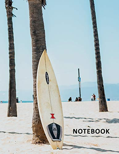 College Ruled Notebook: Surfboard rack convenient Composition Book Daily Journal Notepad Diary Sunset Big Wave Surfing