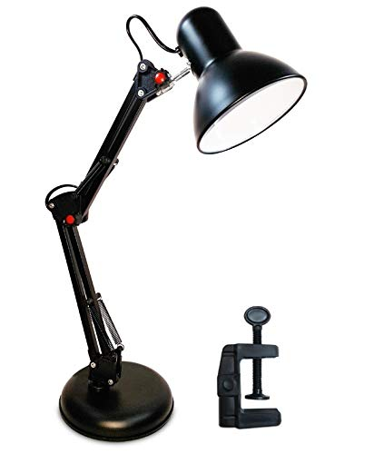 Luminária Articulada De Mesa Abajur Tipo Pixar Com Base E Garra (Preto)