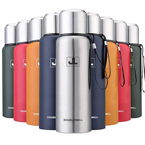 JINLING スポーツボトル 水筒 魔法瓶 真空断熱 保温保冷 大容量 304ステンレス鋼 0.5/0.75/1/1.5リットル (シルバー, 750ml)