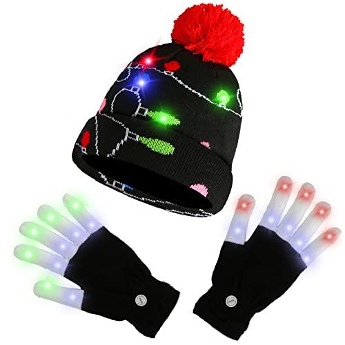 AMOR PRESENT Led Light up Christmas Hat Beanie Knit Cap and Led Gloves