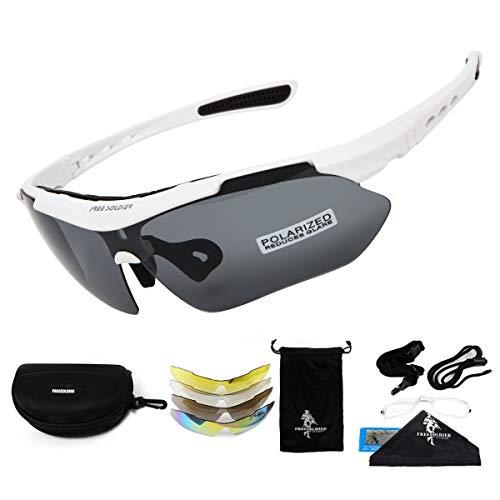 FREE SOLDIER Polaroid Sonnenbrille Herren Fahrradbrille Sportbrille 5 in 1 Taktische Militärische Mtb Brille zum Radfahren Fahrt Wandern Fischen Outdoor-Aktivitäten Laufbrille (Weiß)