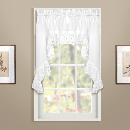 United Curtain Vienna Lace Swag Pair, 54 by 38-Inch, White