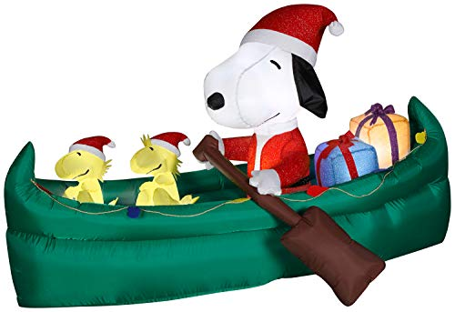 Snoopy in a Canoe Christmas Inflatable