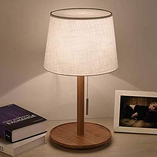 LEIKAS Lámpara de cabecera LED Lámpara de Mesa de Madera E27 Interruptor de tirón Lámpara de Escritorio Lámpara de Sala de Estar Lámpara de Oficina Lámpara de Dormitorio, Blanco