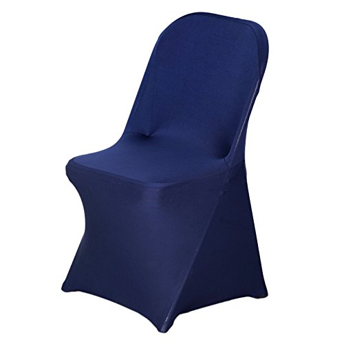 BalsaCircle 10 pcs Navy Blue Spandex Strechable Folding Chair Covers Slipcovers for Wedding Party Reception Decorations