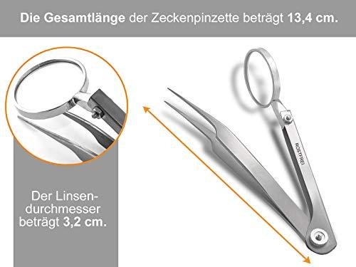 InstrumenteNrw Spitze Zeckenzange mit Lupe Kombi Zecken Pinzette - Rostfrei -