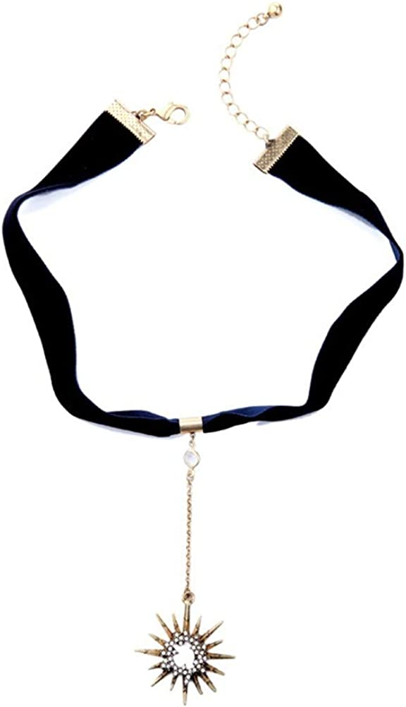 Multilayer Necklace,AILUOR Vintage Star Choker Chain Leather Pendant Layer for Women Jewelry