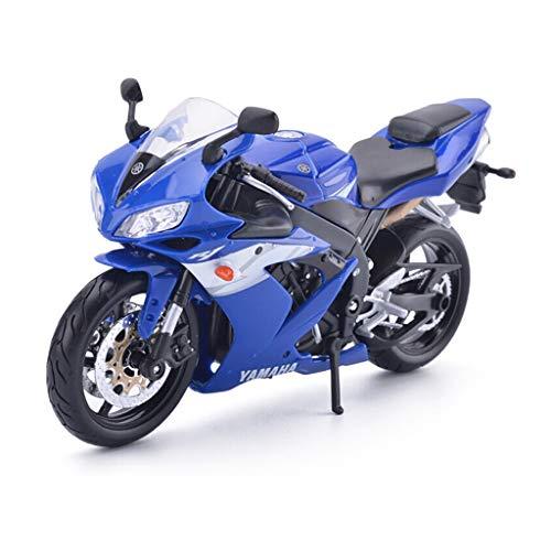 YAXIAO Modelo de Motocicleta Yamaha YZF-R1 Locomotora simulación de aleación de fundición a presión de Juguetes de joyería de colección de automóviles Deportivos joyería (Color : Blue)