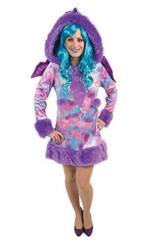 Karnevalsmanufaktur Kostüm Drachen Kleid Damen mit Kapuze und Flügeln (40/42)
