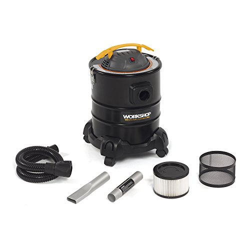 WORKSHOP Wet Dry Vacs Ash Vacuum Cleaner WS0500ASH, 5-Gallon Ash Vac for Fireplaces, Stoves, BBQ Pits, 3.0 Peak Horsepower Ash Vacuum, Black/Yellow