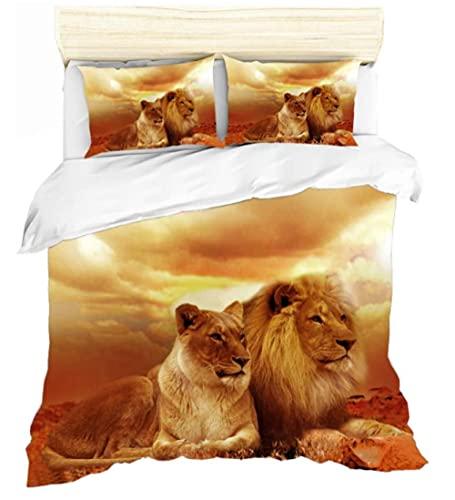 Juego de funda de edredón individual de 135 x 200 cm, diseño de león animal para niños, funda de edredón y funda de almohada a juego, fundas de edredón ultra suaves, accesorios de dormitorio 3 piezas