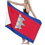 Badetuch Flagge von Kambodscha, weich & super saugfähig, geeignet für Hotel, Schwimmbad, Fitnessstudio, Strand