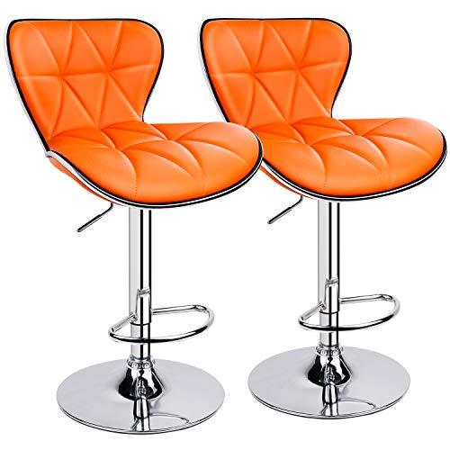 Leopard Shell Back Adjustable Swivel Bar Stools, PU Leather Padded with Back, Set of 2 (Orange)?