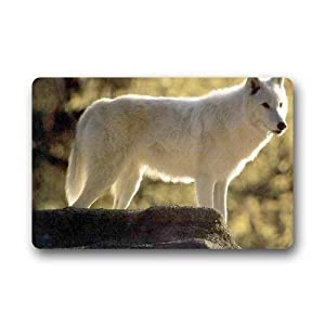 Bikofhd White Wolf Custom Outdoor Indoor Felpudo Personalized Design Machine-Wahable Neoprene Rubber Felpudo (L23.6