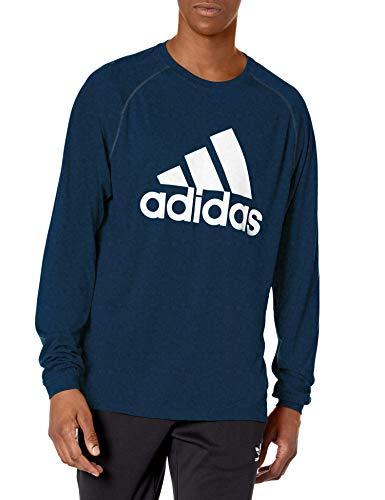 Adidas Clima Playera de Manga Larga para Hombre, Playera Clima de Manga Larga, Collegiate Azul Marino/Blanco, XS
