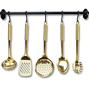 Gold / Brass Cooking Utensils for Modern Cooking and Serving, Kitchen Utensils -Stainless Steel Cooking Utensils 5 PCS-Gold Serving Spoon, Gold Soup Ladle, Pasta Serving Fork, Spatula, Kitchen Skimmer