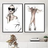 YHJK Póster Imagen Mujeres Lápiz Labial Impresiones de piernas Impresión de póster Arte de la Pared Pintura Imagen Salón Habitación Decoración para el hogar 2x40x60cm Sin Marco