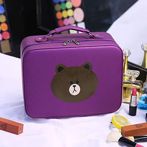 Sac de maquillage nouveau mignon ours sac de maquillage portable grande capacité sac de stockage de voyage beauté portable cas de beauté 25 * 12 * 20CM violet L