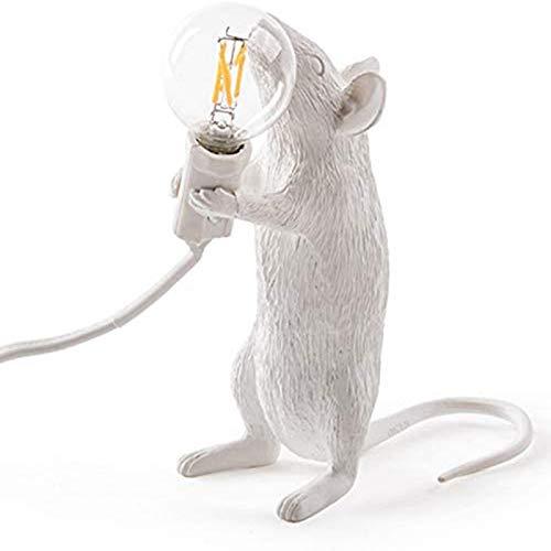 Lámpara de mesa de ratón de la resina moderna de la lámpara de la lámpara de la lámpara de la lámpara de la mesa de los niños Decoración de la sala de regalo LED Luces Enchufe Rata de pie
