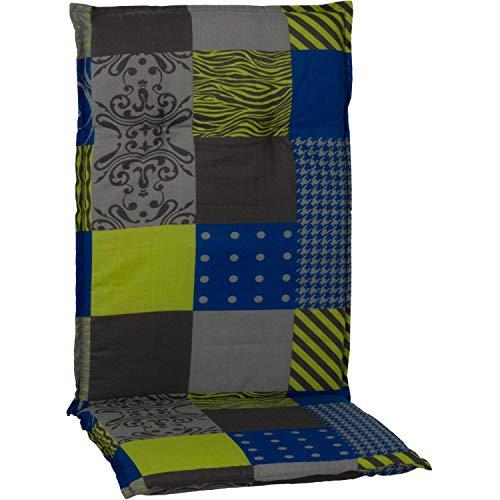 beo Chaises Coussin avec Bordure pour Fauteuil à Dossier Haut Motif Patchwork, Env. 118 x 48 x 6 cm Bleu/Vert/Gris/Multicolore