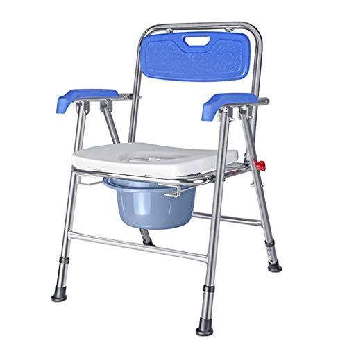 CAIyi nachtkastje commodes slaapkamer commode oude man stoel moederschap commode vouwen wc stoel huishoudelijke toilet incontinentie stoel kan dragen 160 kg 57 * 56 * 85cm Blauw