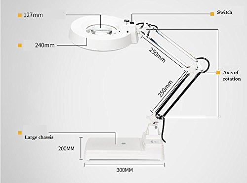Loupe de bureau haute puissance avec lumière led haute définition en verre blanc 20 fois le vieil homme en train de lire sculpture lampe de bureau de maintenance