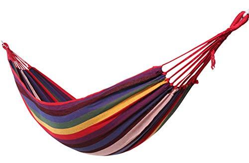 HW Hangmat Camping Dubbel met Boomriemen - Outdoor en Indoor Gebruik - Zacht Geweven Katoen Stof voor Supreme Comfort, voor Wandelen, Reizen, Rugzakken, Strand