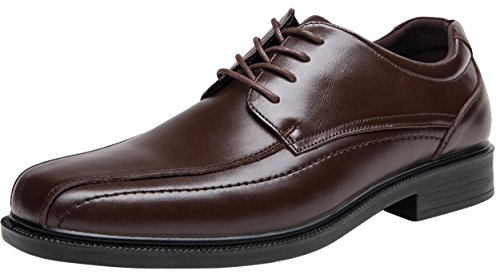 JOUSEN Men's Dress Shoes Brown Leather Square Toe Oxford Lightweight Formal Shoes (10.5,Brown)