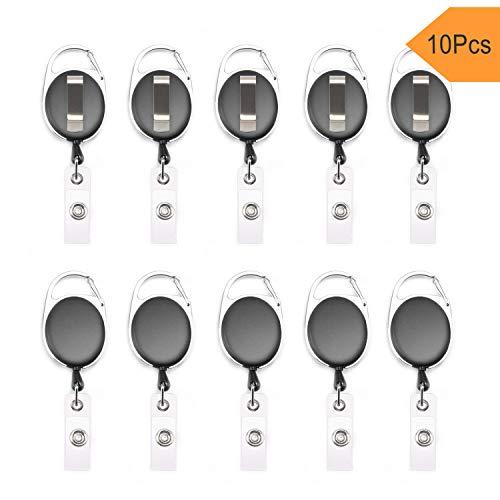 Fushing 10 Karabiner ID Card Badge Clips mit Gürtel Clip Spulen mit Badge Holder Clips Halter Clips schwarz