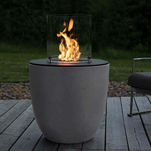 muenkel design Lasa – Beton-grau – Bio-Ethanol Feuerstelle Gartenfackel Terrassenfeuer mit Round Burner 300 Brennkammer
