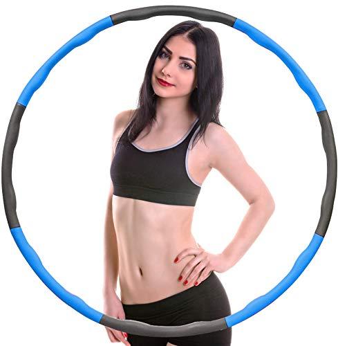 Watlike Aro de hula hoop para adultos para pérdida de peso y masaje, extraíble, 8 unidades, para fitness, hogar y oficina, color azul y gris
