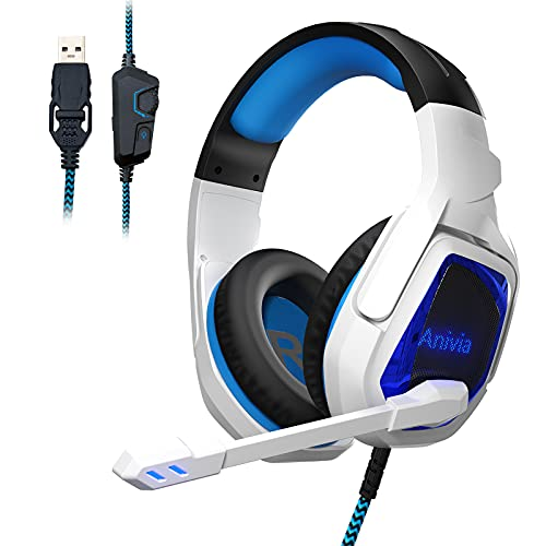 Anivia USB Gaming Headset for PS4 PS5 Xbox One Controller Gaming Headphones with Mic Over Ear Headphones Noise Cancelling Soft Memory Earmuffs for PC Switch Laptop Tablet Mac (White Blue)