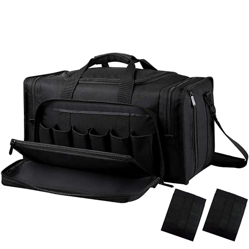 SoarOwl Tactical Gun Range Bag, Deluxe Padded Weather-Resistant Pistol Shooting Range Bag for Handguns with 12 Magazine Pouches and Lockable Zipper(Black)