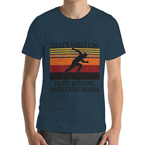 Camiseta de algodón para hombre Love Running Know Things – Sport Hobby ocio verano negro XL