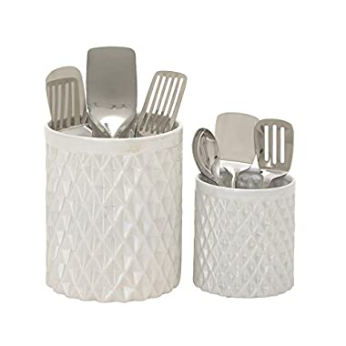 Benzara 93675 Attractive Ceramic Kitchen Utensil Holder, Set of 2