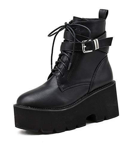 Damen Plateau High Heels Schnürstiefeletten mit Blockabsatz Boots Gothic Punk Combat Stiefel,Schwarz,38 EU