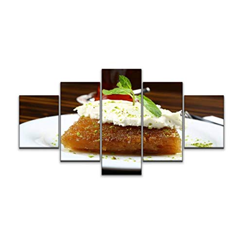 Turkish Dessert Ekmek Kadayifi / Bread Pudding with Kaymak / Butter 5 Panels Canvas Wall Art Framed Modern Abstract Print Painting and Posters for Home Decor Ready to Hang (60''Wx32''H)