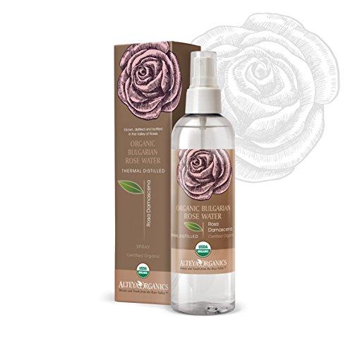 Acqua di Rosa Bulgara Alteya Organic - spray 250 ml - 100% USDA Certificata Organica Pura Bio Naturale Acqua vaporizzata distillata di fiori preparata di petali freschi di Rosa Damascena