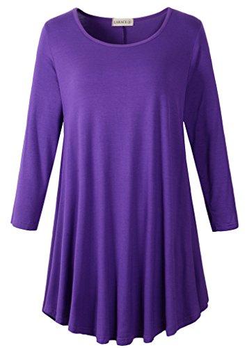 LARACE Women 3/4 Sleeve Tunic Top Loose Fit Flare T-Shirt(2X, Deep Purple)