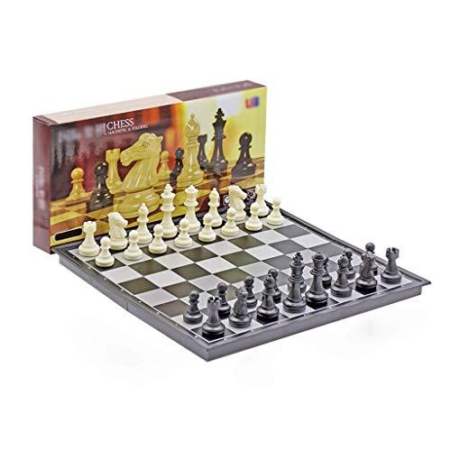 HEZHANG Faltbares Schach Set Kunststoff Magnetische Schachfigur Internationale Schachbrettspiele Tragbare Speicherplatz Geburtstagsgeschenk Schach-Set,Schwarz-Weiss,36 cm
