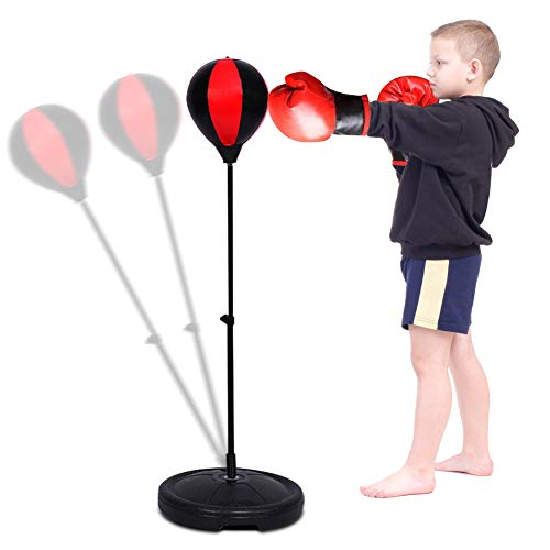 Punchingball Boxstand Einstellbar Boxsack Punchingball Boxen Set Standboxsack mit Boxhandschuhe und Pumpe 360 ° Swivel Ball Bearing Boxsack Boxständer für Fitness, WOD, Outdoor, MMA Boxing Training