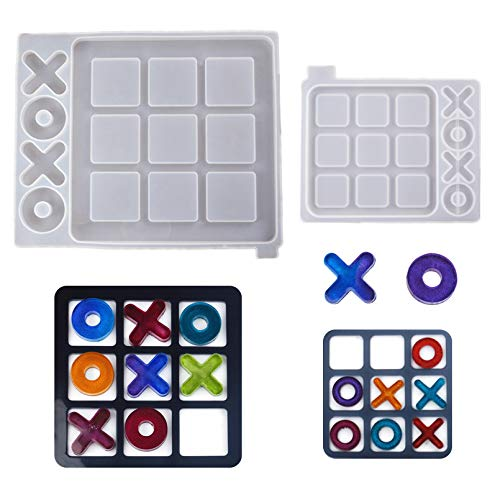 Tic Tac Toe Board Game Resin Molds, 2 Pack XO Fun Family Games Silicone Epoxy Resin Casting Molds...