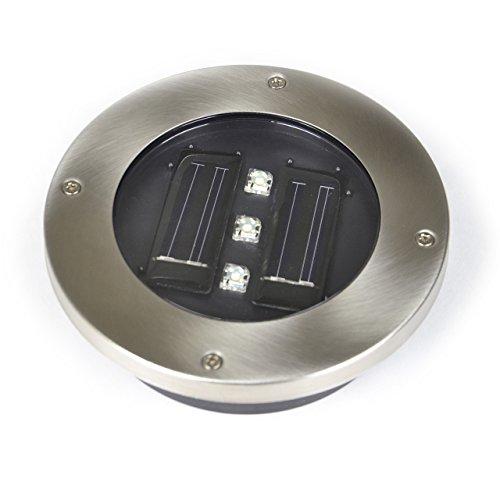 Solar Bodenstrahler con 3 LED, de acero inoxidable