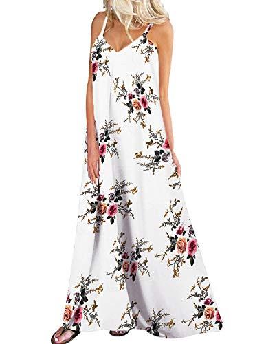 Kidsform Damen Sommerkleider Blumen Maxi Kleid Ärmellos Abendkleid Strandkleid Party Chiffon Lange Kleid EU 46/Etikettgröße 2XL