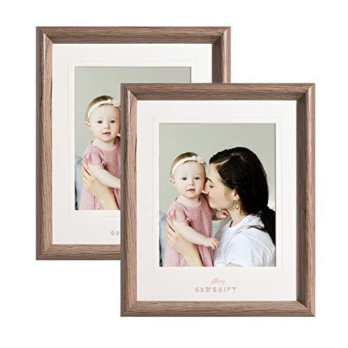 Metrekey Bilderrahmen 20x25 cm 2er Set Glas Hozlrahmen mit Passepartout für Bilder 15x20cm Braun Fotorahmen für Tischdisplay und Wandbehang