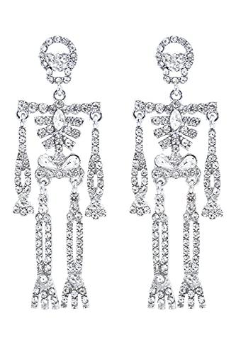 Skeleton Dangle Earrings for Women Bling Rhinestone Halloween Crystal Gothic Skull Earring Halloween Theme Jewelry Gift Charm